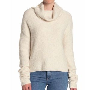 Free People Cream Cowl Neck Sweater Size Large